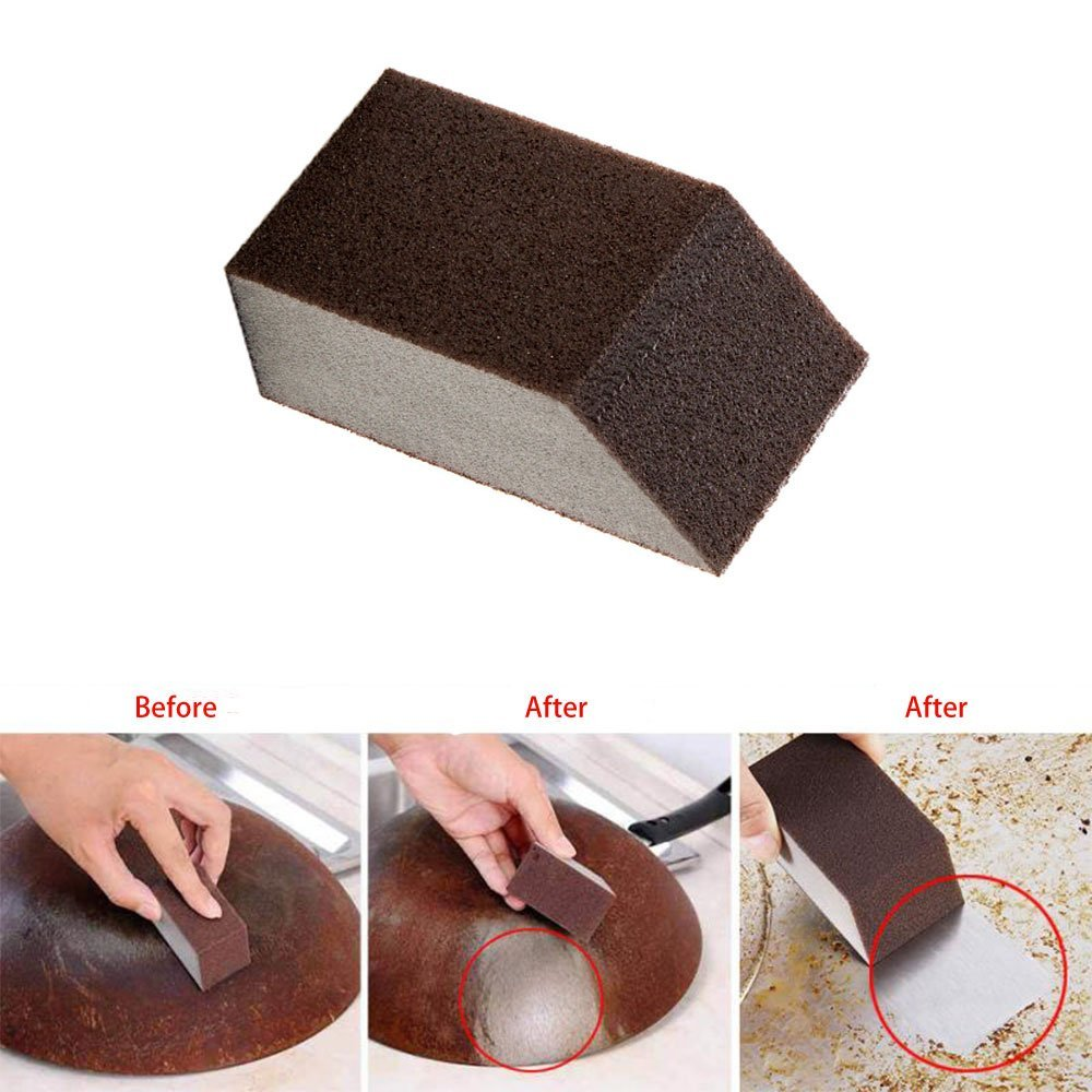 angju Magic Emery Sponge Brush Strong Decontamination Eraser Cleaner Kitchen Rust Cleaning Tool