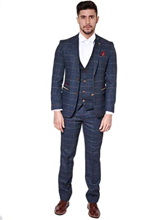 Marc Darcy Mens 3 Piece Slim Fit Navy Multi Tonal Check Tweed
