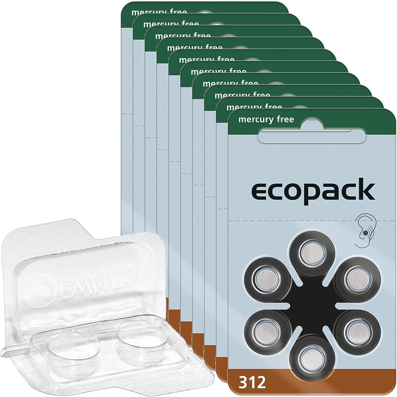 60x Ecopack Hörgerätebatterien 312 20x6er Blister Elektronik