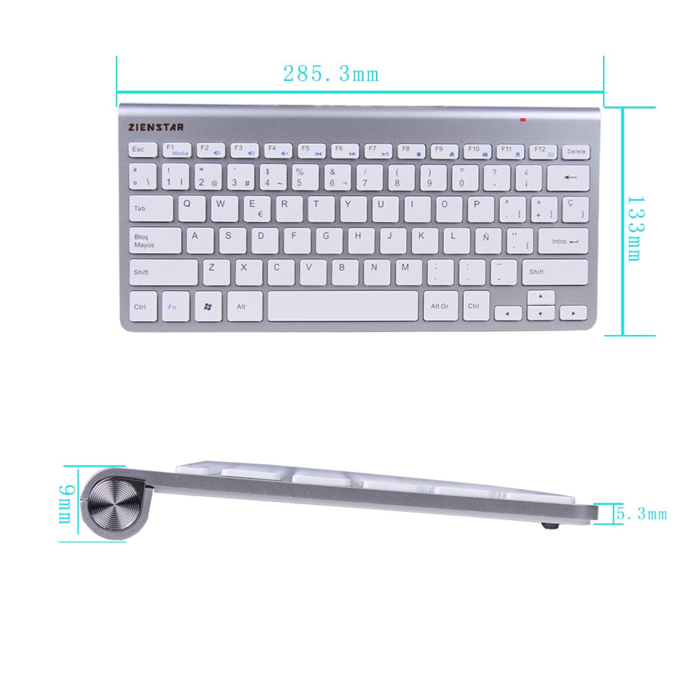 Zienstar -2.4Ghz Teclado Inalámbrico con Receptor USB para la ...