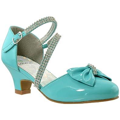 481273ad8e Kids Dress Shoes Rhinestone Bow Accent Kitten Heel Sandals Blue SZ 1