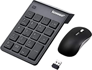 USB Numeric Keypad & Mouse Combo, Sunreed 2.4G Wireless Mini Number Pad Keyboard with Power Switch for Laptop Computer PC Notebook, Just One USB Port