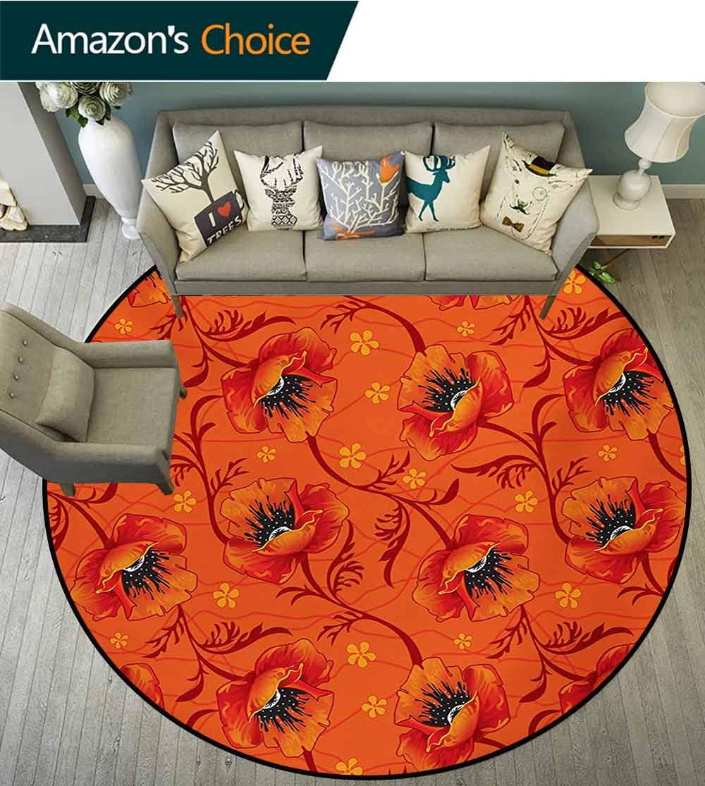 RUGSMAT Orange Rug Round Home Decor Area Rugs,Poppy Flower Series Blossoms Romance Bohemian Artistic Design Print Non-Skid Bath Mat Living Room/Bedroom Carpet,Round-71 Inch Burnt Orange Yellow Black