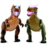 Mozlly Value Pack - Mozlly R/C Remote Control Dinosaur, Walks, Roars, Lights Up Brown AND Green (2 Items) - Item #K101288-101287