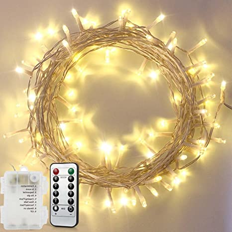 remote fairy string lights warm white33ft 10m 100 led waterproof battery powered ambiance lighting