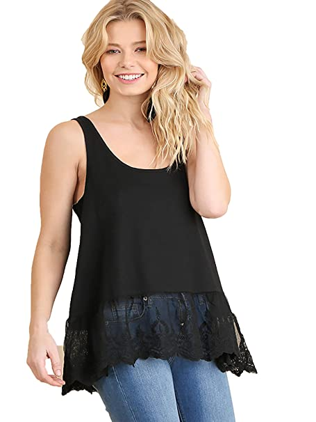 8545b1bd9 Umgee Women's Lace Bottom Ribbed Tank Top at Amazon Women's Clothing ...