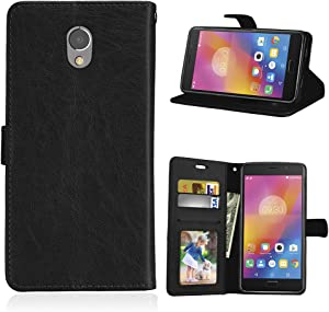 for Lenovo Vibe P2 P2a42 Case,PU Leather Protection 3 Card Slots Wallet Flip Case Cover-Black