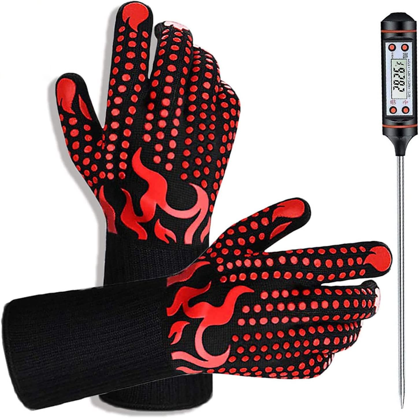 IVSUN BBQ Gloves,1472℉ Heat Resistant Protective Grill Gloves with Meat Thermometer, Silicone Non-Slip Cooking Oven Mitts Kitchen Grilling Gloves for Barbecue/Baking/Welding: Kitchen & Dining