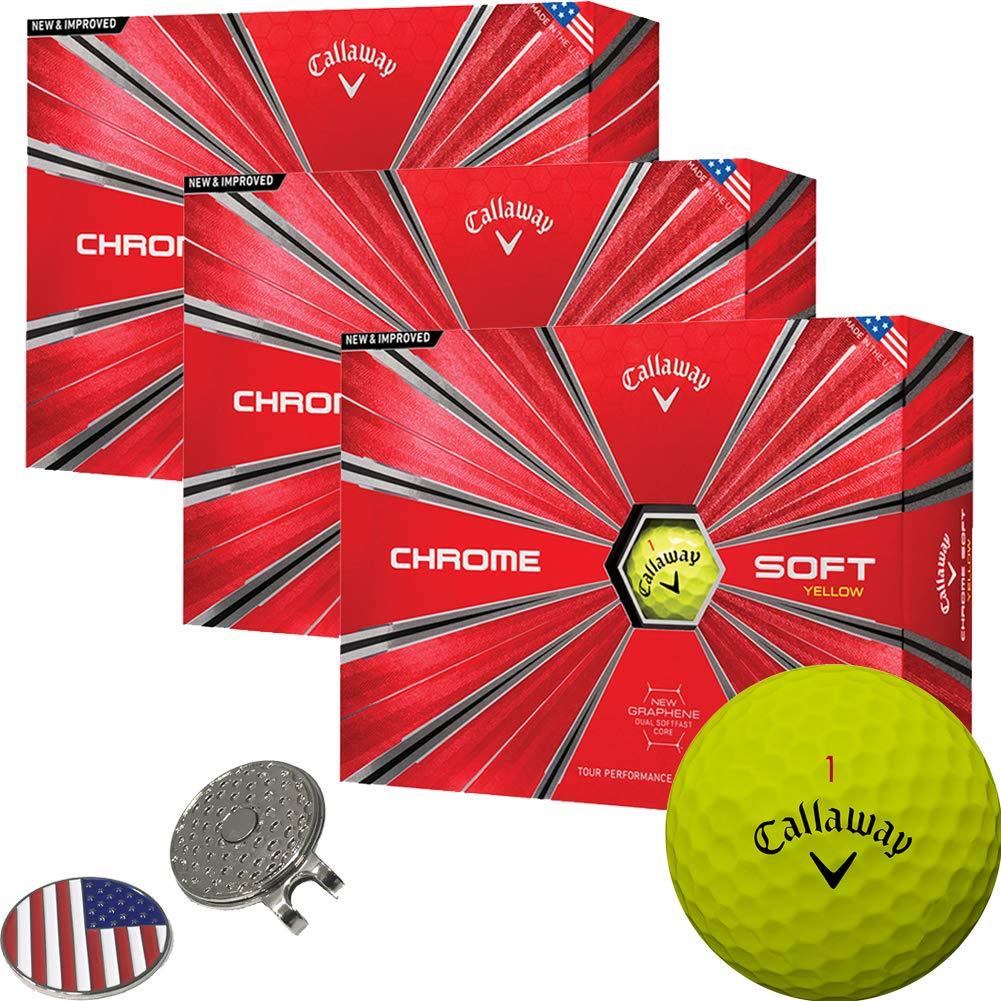 Callaway Golf 2018 Chrome Soft Yellow Golf Balls (3 Dozens) + 1 Custom Ball Marker Clip Set (US Flag)