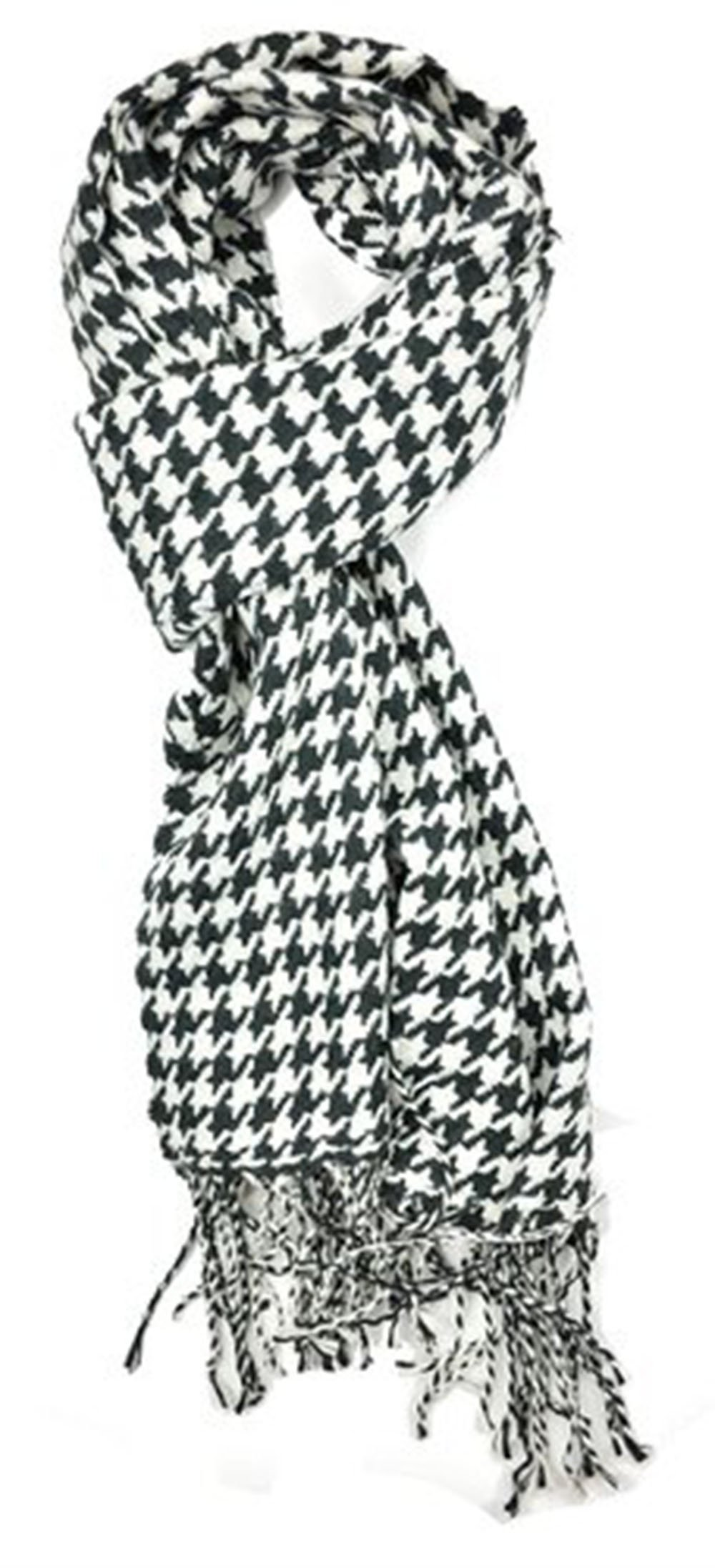 Classic Luxurious Soft Cashmere Feel Unisex Winter Scarf in Checks and Plaid (Houndstooth Black-White)