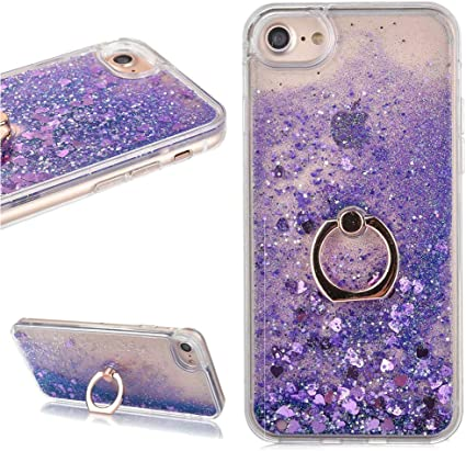 LCHDA Coque iPhone 6 6S Paillette Liquide Anneau avec Bague,Coque iPhone 6 6S Paillette Violet Flottant Fluide Eau Sable Mouvant Coeur Transparente ...