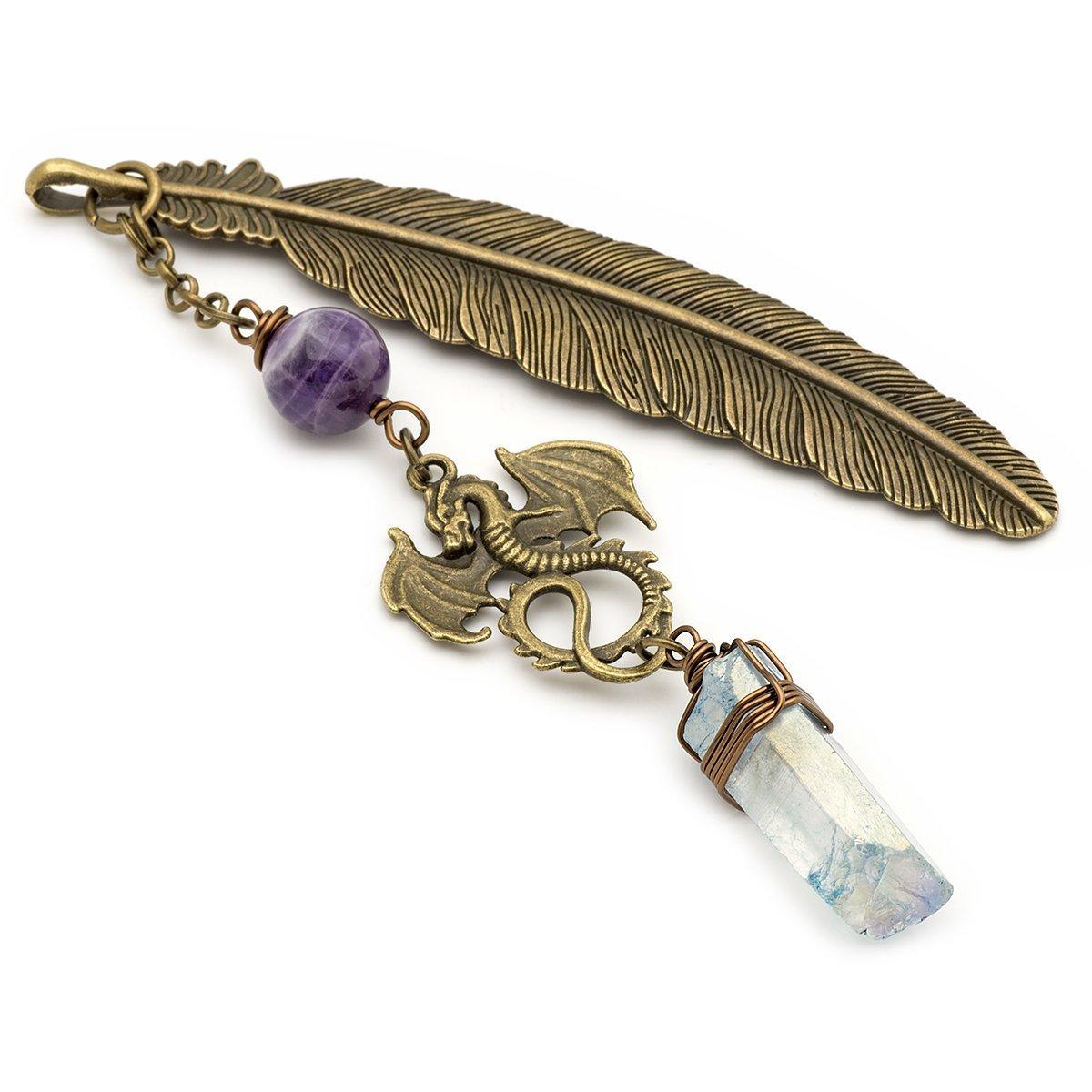 Aura quartz amethyst gemstone point dragon and feather bronze metal unique bookmark
