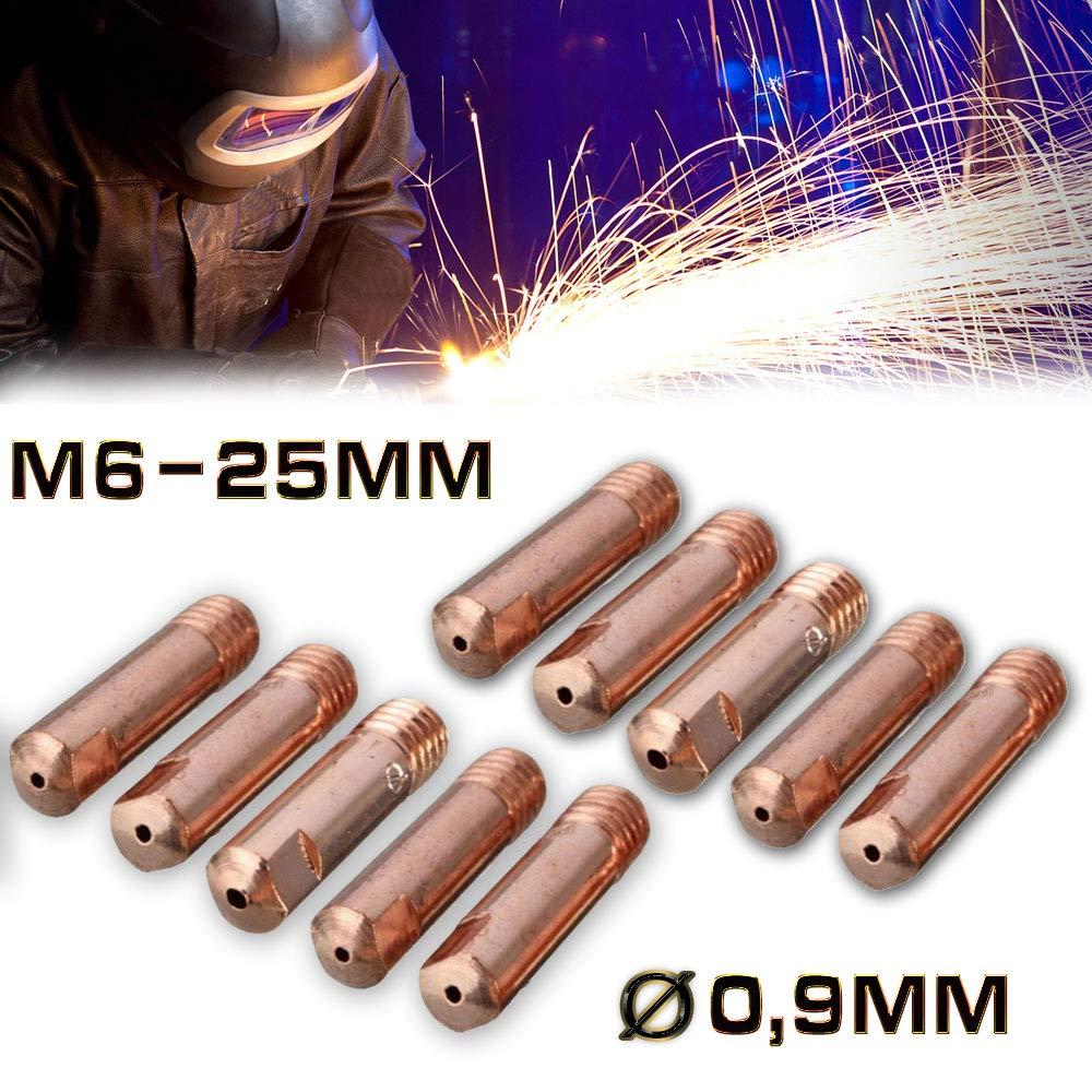 Jurmann Trade GmbH® 10 x Stromdüsen MIG/MAG M6-25mm Ø 0, 9mm Cu-E MB14/15/24 Schweißspitze Kontaktrohr hergestellt für filestorm.sro