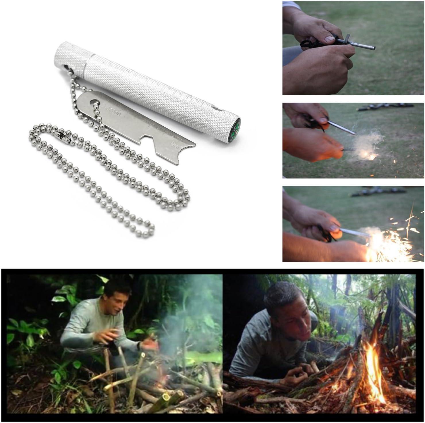 Grenhaven pedernal Firesteel arrancador de fuego en una longitud de pluma de plata robusta carcasa 6 cm 9.000 disparos de supervivencia de caza que acampa al aire libre Abridor Lighter