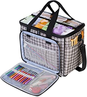 """Teamoy Knitting Bag, Yarn Tote Organizer with Inner Divider (Sewn to Bottom) for Crochet Hooks, Knitting Needles(Up to 14""""), Project and Supplies, Gray Dots -No Accessories Included"""