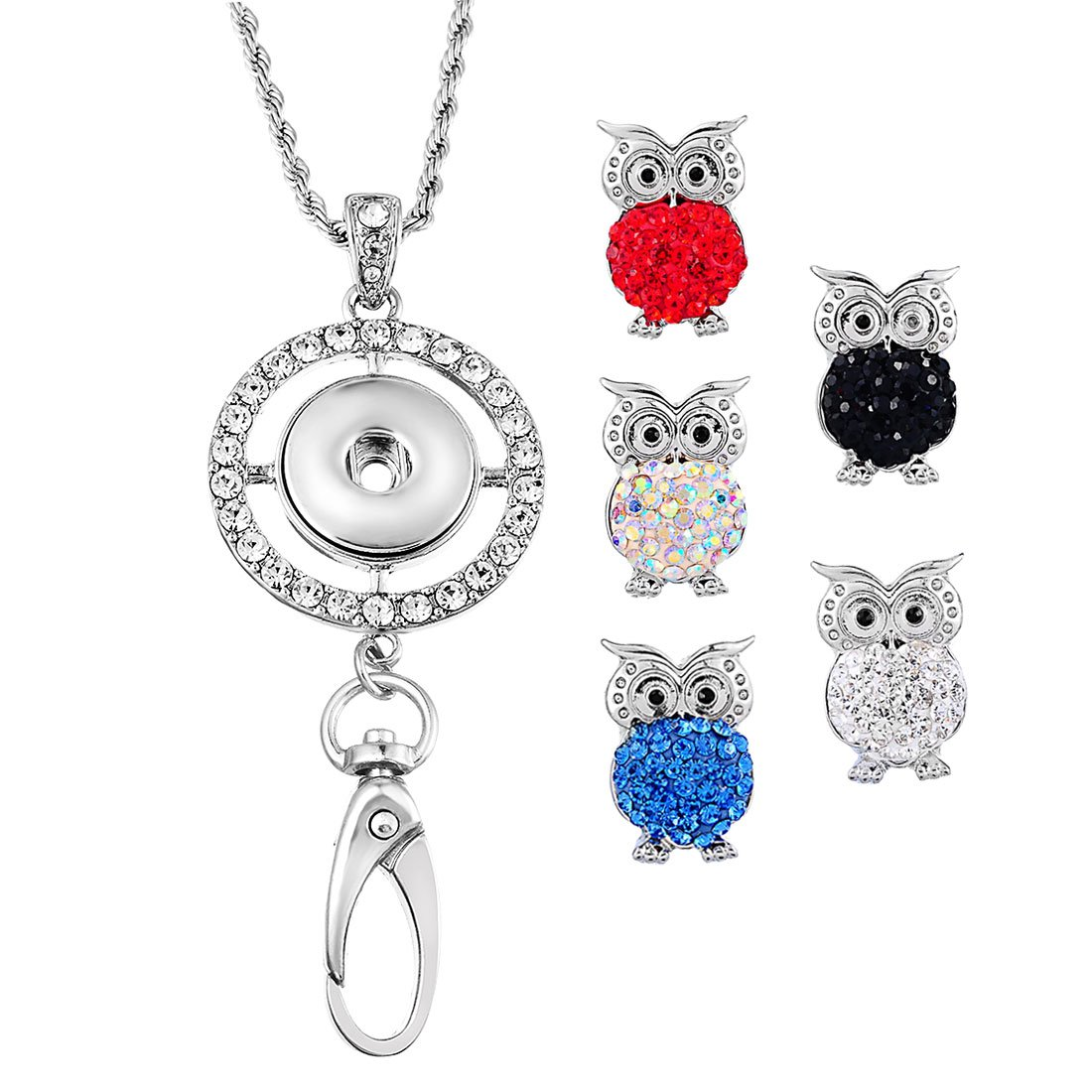 Souarts Womens Office Lanyard ID Badges Holder Necklace with 5pcs Owl Snap Charms Jewelry Pendant Clip