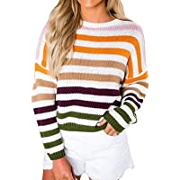 Fantastic Zone Women's Striped Crew Neck Long Sleeve Knitted Sweater Top