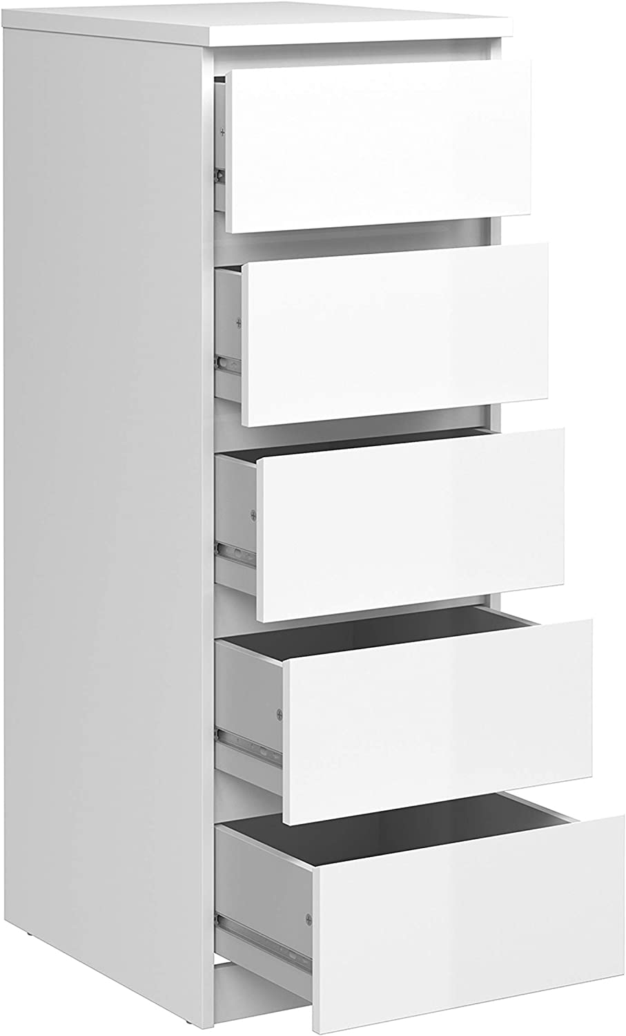 Furniture To Go   Naia Narrow Chest of 5 Drawers in White High Gloss