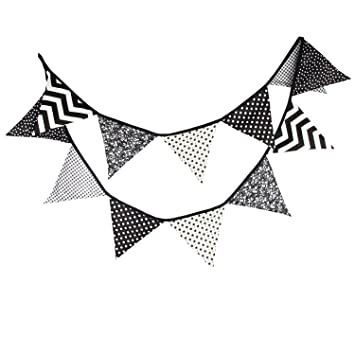 Cool 10 5 Feet Double Sided Black And White Cotton Fabric Triangle Pennant Flag Bunting Banner 12 Flags For Nursery Kids Room Teens Bedroom Teepee Baby Download Free Architecture Designs Salvmadebymaigaardcom