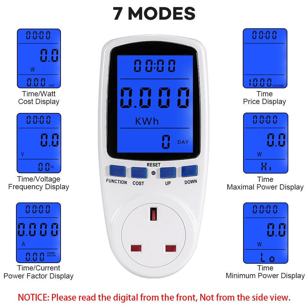 Youthink Uk Plug Power Meter Electricity Usage Monitor Home Energy Electrical Socket Diagram Volt Amps Watt Analyzer With Digital Lcd Display Overload Protection Amazonco Car
