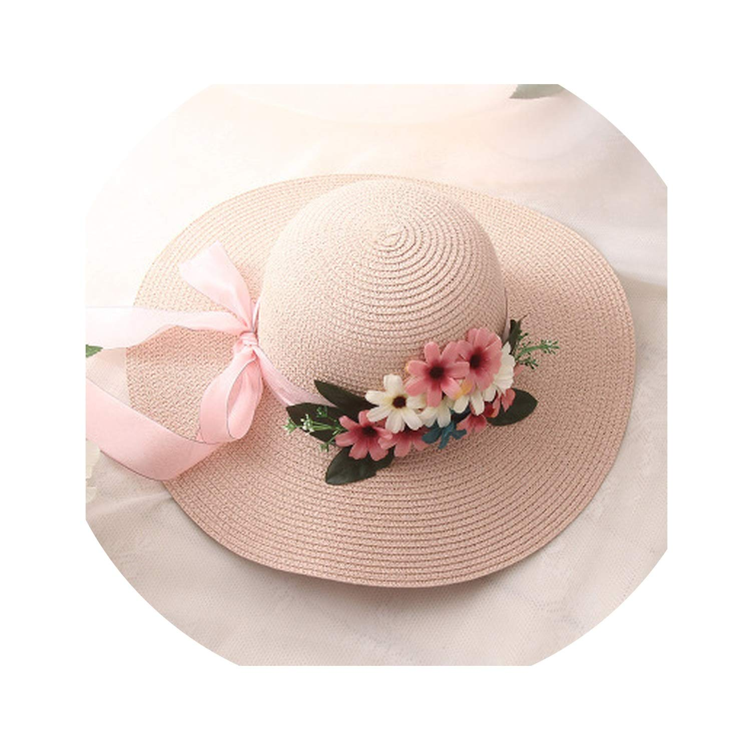 Double Flowers Weave Straw Hat Fashion Wide Brim Summer Hats Women Outdoor Beach Hat Floral Bow Hat