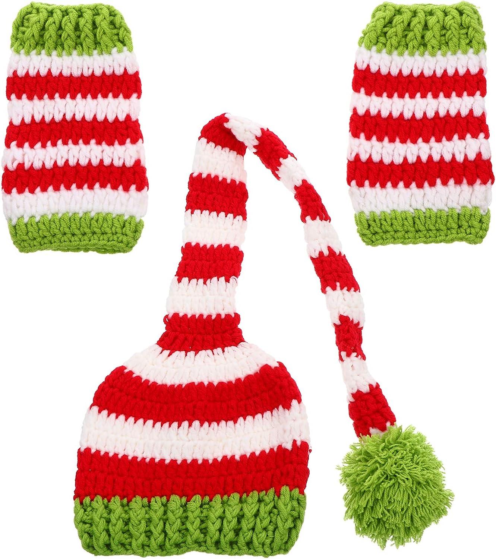 TOYANDONA Natale Neonato Lavorato a Maglia Lungo Elfo Cappello da Babbo Natale Kit Scaldamuscoli Alluncinetto Costume Natalizio Outfit Fotografia Puntelli