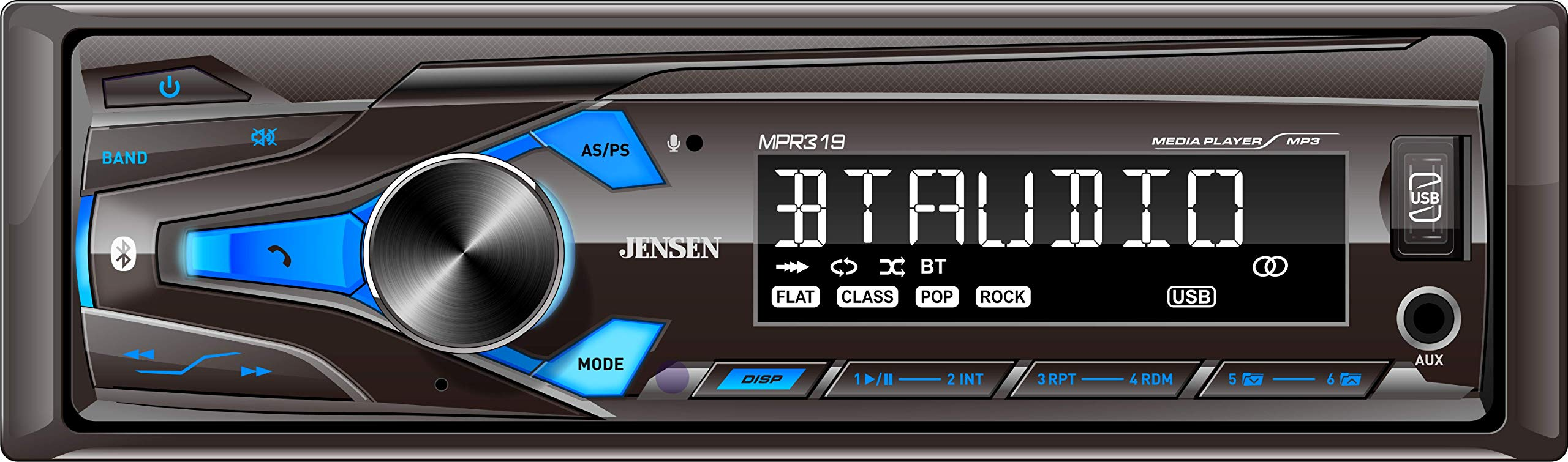 JENSEN MPR319 Single DIN Car Stereo Receiver with 7 Character LCD Built-in Bluetooth/MP3/USB by Jensen
