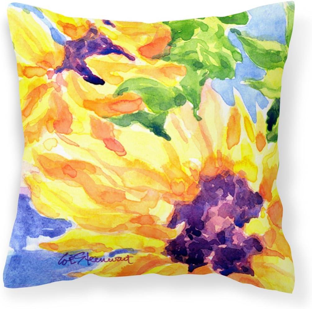Caroline's Treasures 6132PW1414 Flower - Sunflower Decorative Canvas Fabric Pillow, 14Hx14W, Multicolor