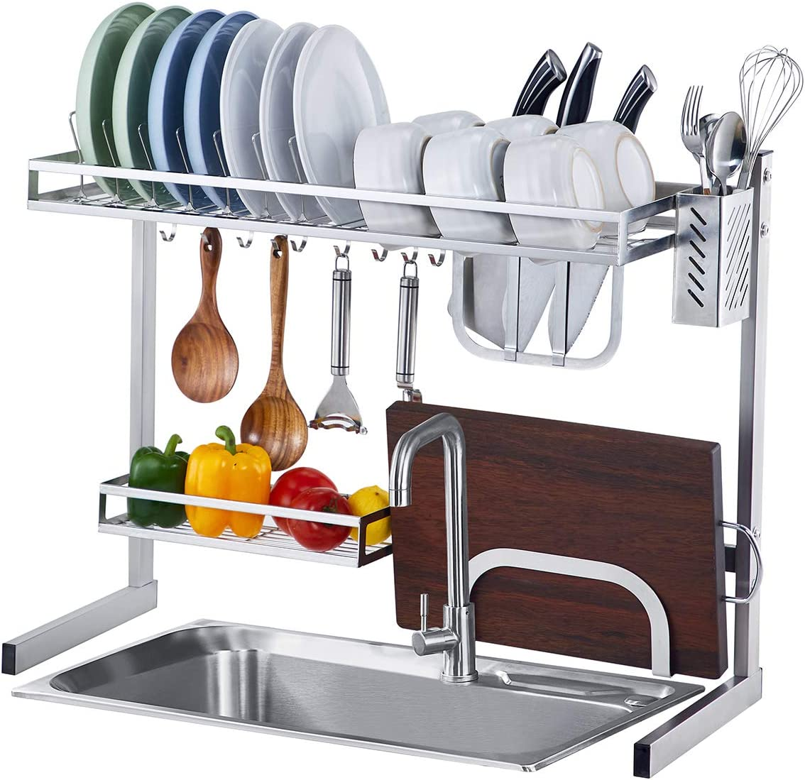 Istboom Over The Sink Dish Drying Rack Small Over Counter Dish Drainer For Kitchen Single Sink With Utensil Caddy Knife Cutting Board Holder 10 Hooks Stainless Steel Sink Size