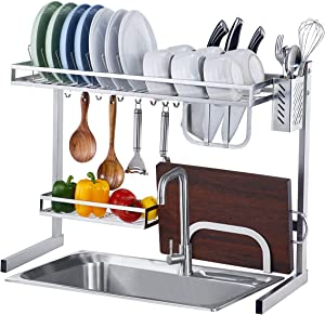 istBoom Over the Sink Dish Drying Rack, Stainless Steel Over Sink Dish Drainer Storage Shelf for Kitchen (Sink Size ≤ 25 inch, Silver)