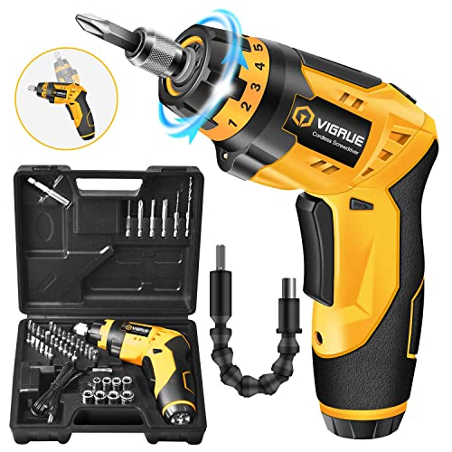 Cordless Screwdriver, VIGRUE Electric Screwdriver, Rechargeable 4V MAX 2000mAh Li-ion, with 45 Free Accessories, Battery Indicator, 6 Torque Setting, 2 Position Handle with LED Light, Flexible Shaft