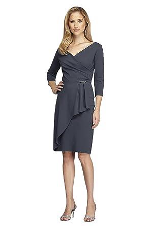 ea4b80b200f178 Alex Evenings Womens Petites Rhinestone Three-Quarter Sleeves Wrap Dress  Gray 2P