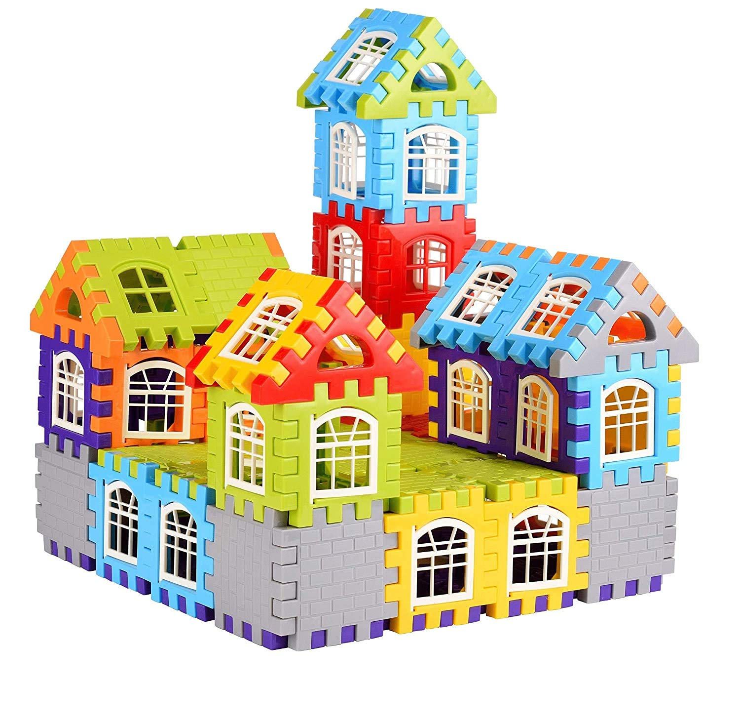 Buy Blocks House Multi Color Building Blocks with Smooth Rounded Edges