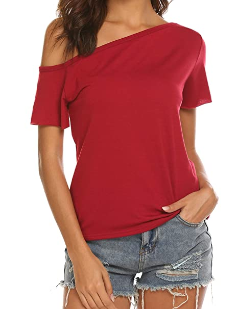 37b50670f483c ANGVNS Womens Short Sleeve Off Shoulder Black Cotton Top Tshirt Blouse  (Wine Red