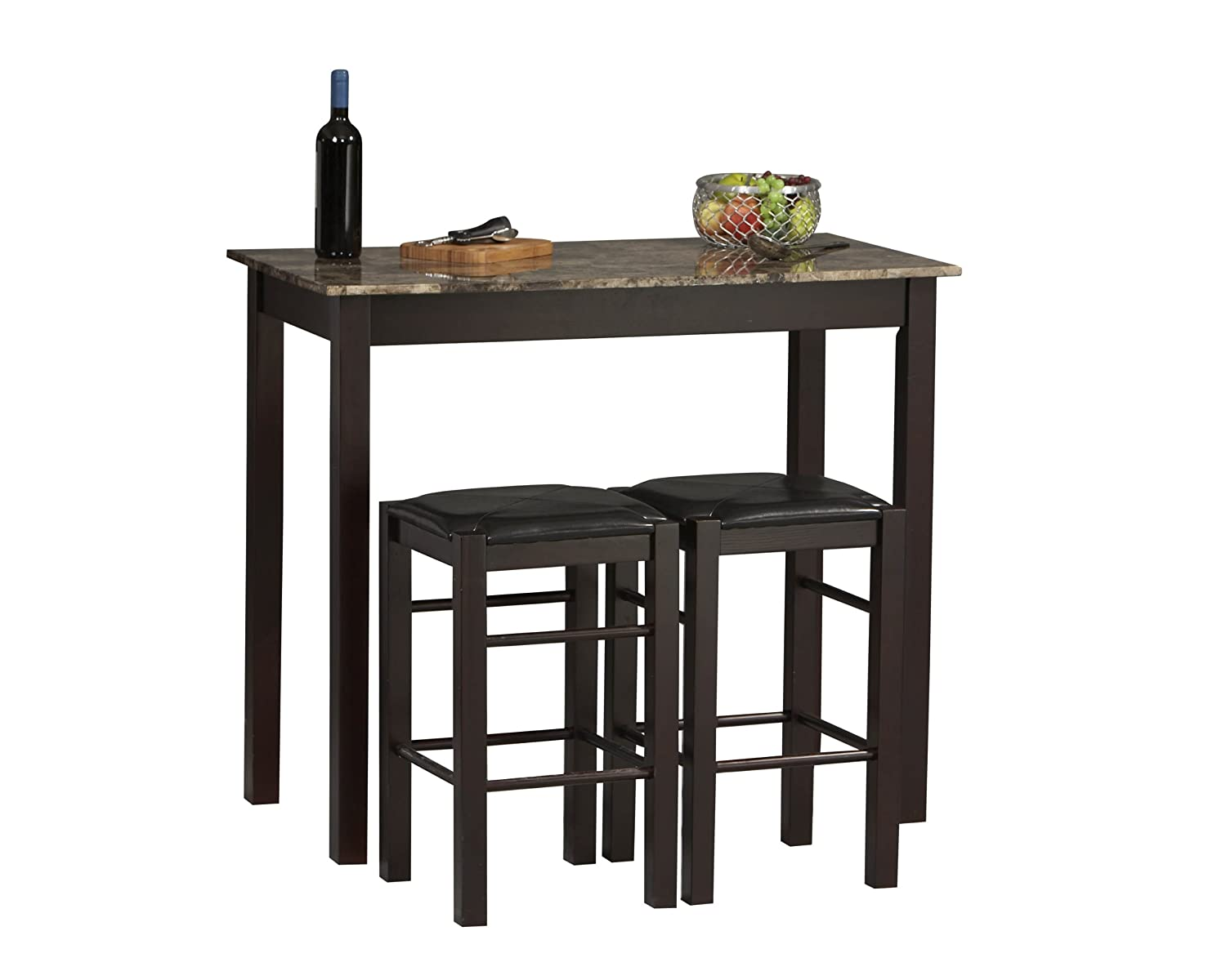 amazoncom linon tavern collection 3 piece table set tables - Kitchen Table With Bar Stools