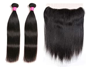 Blowing Brazilian Straight Human Hair 2 Bundles with Frontal Brazilian Virgin Hair 13×4 Ear to Ear Lace Frontal with Bundles 8a Straight Human Hair Weave with Frontal Natural Color (10 12+10 Frontal)