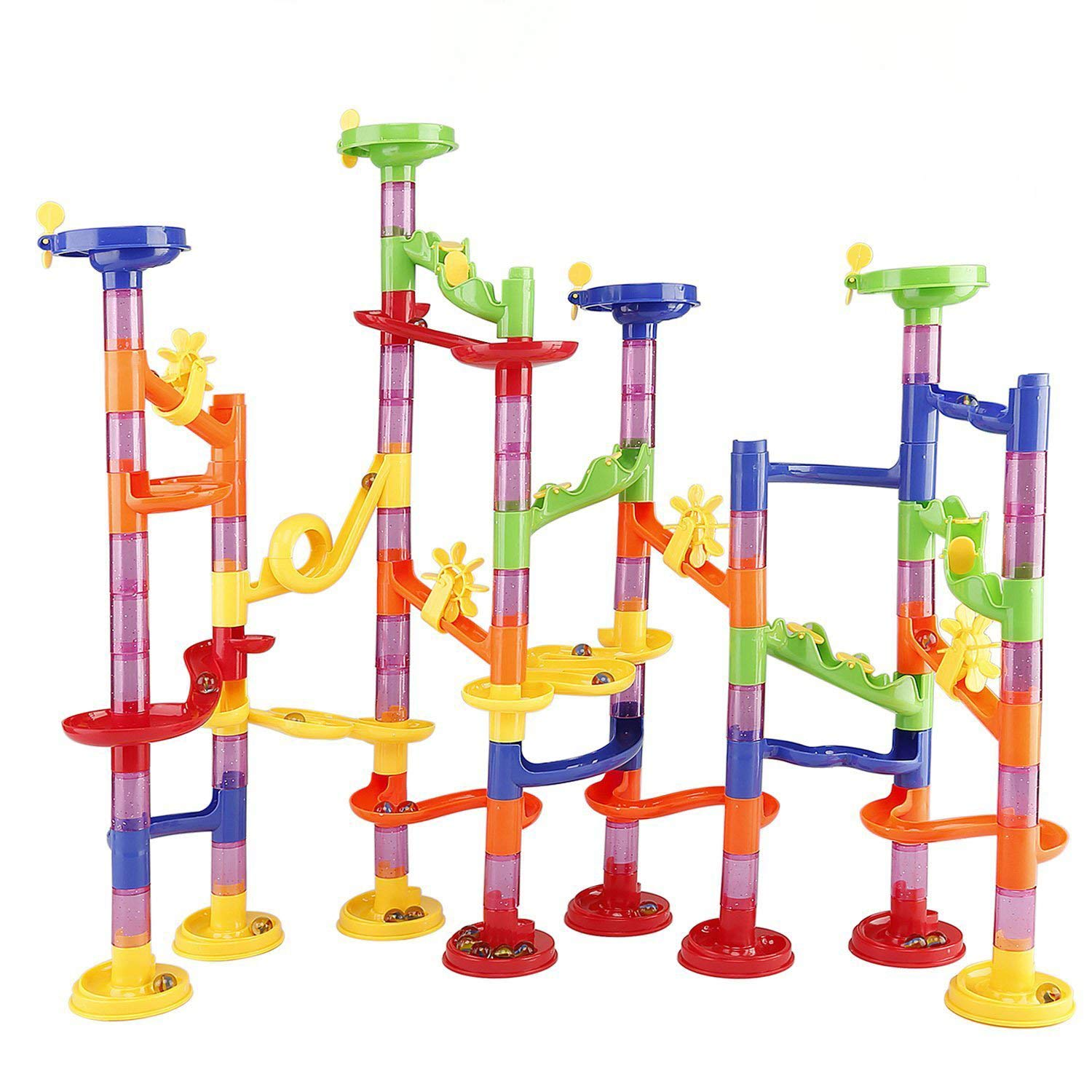 Newooe Marble Run Railway Toy DIY Building Blocks Marble Runs Coaster Railway Construction Marble Game for Kids Children Gift Toy