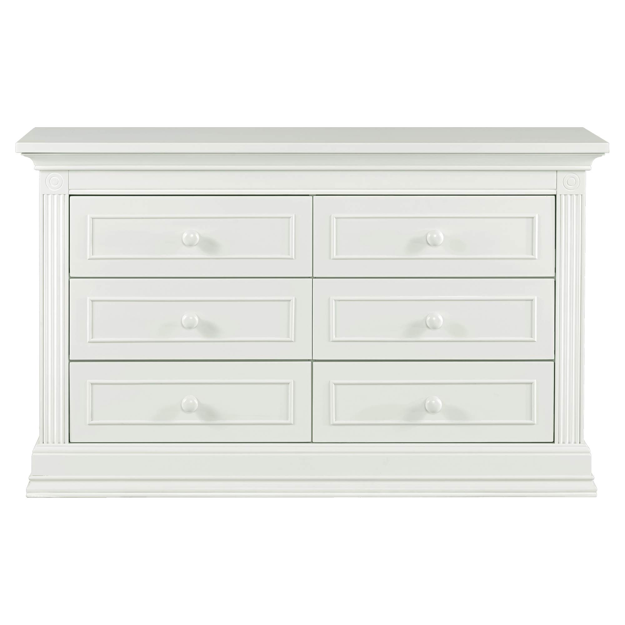Baby Cache Montana Collection Natural Hardwood 6 Drawer Dresser | Lasting Quality & Design | Kiln-dried & Hand-Crafted Construction | 56'' x 18.5'' x 34'', Glazed White