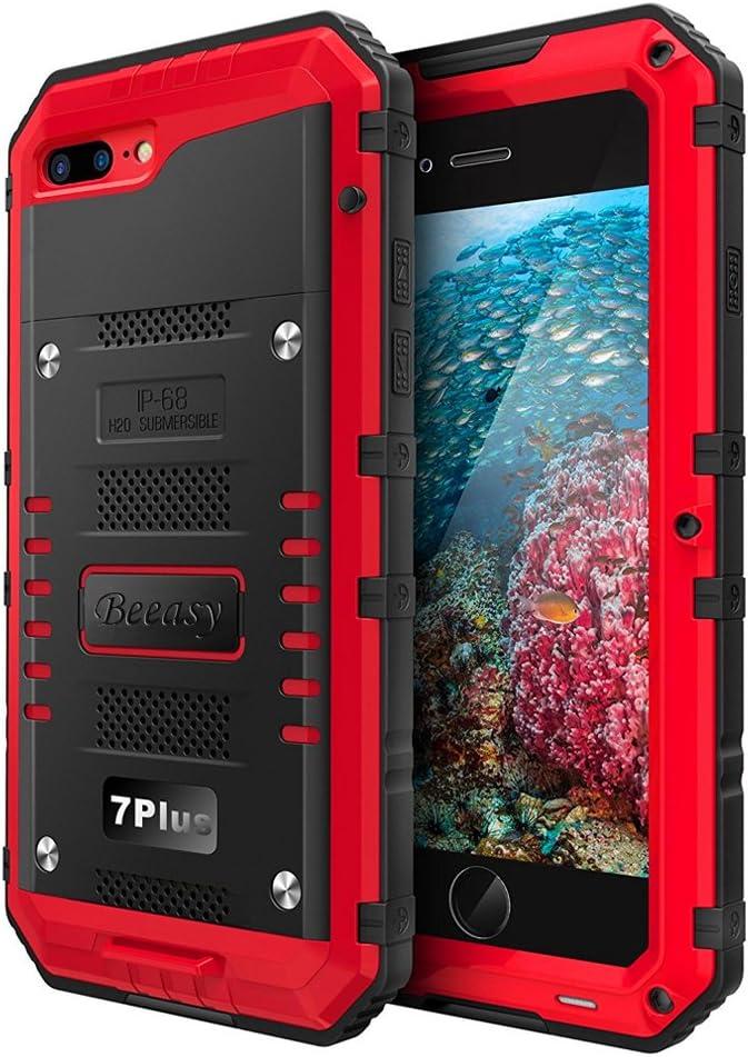 Beeasy Funda Impermeable iPhone 7 Plus/ 8 Plus, [Antigolpes] Carcasa Sumergible Resistente Reforzada Acuática Waterproof Metálica Grado Militar Resistente Antipolvos Case para iPhone 7plus 8plus,Rojo
