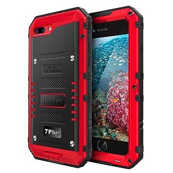 Beeasy Funda Impermeable iPhone 7 Plus/ 8 Plus, [Antigolpes] Carcasa Sumergible Resistente Reforzada Acuática Waterproof Metálica Grado Militar ...