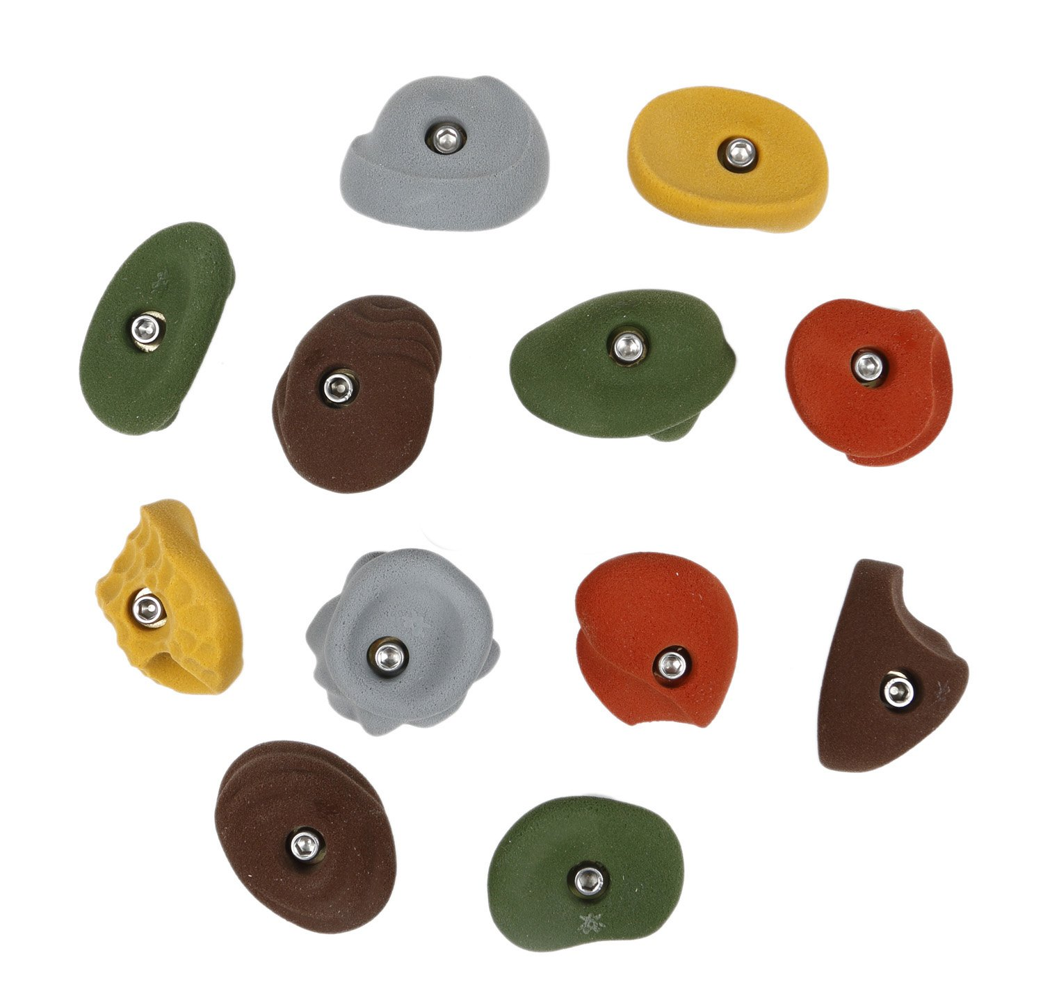 12 Large Classic Jugs | Bolt-on Rock Climbing Holds | Assorted Earth Tones