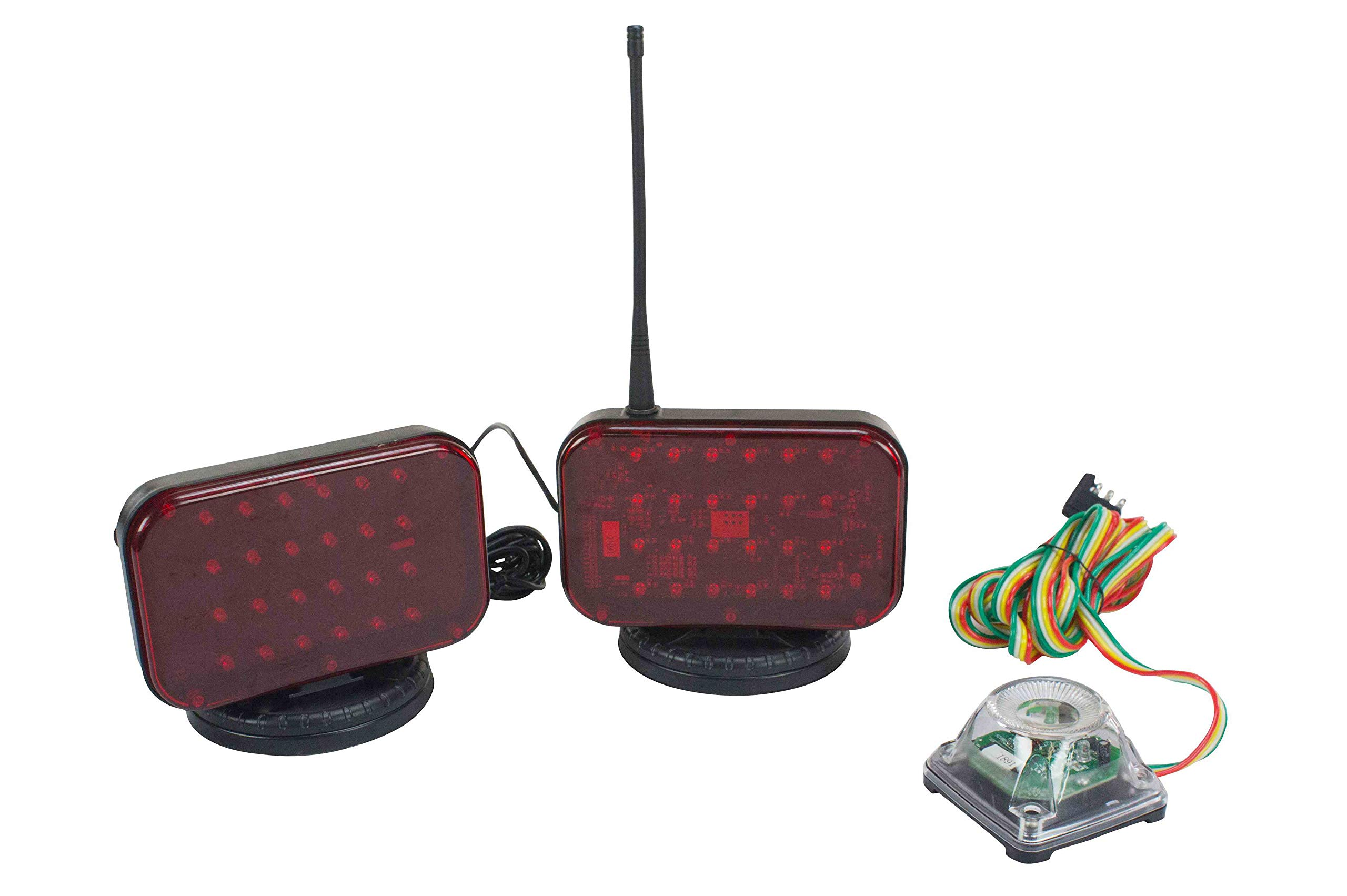 Wireless LED Tow Lights - Battery Operated - 30 Foot Wireless Operation Range - Magnet Mount by Larson Electronics