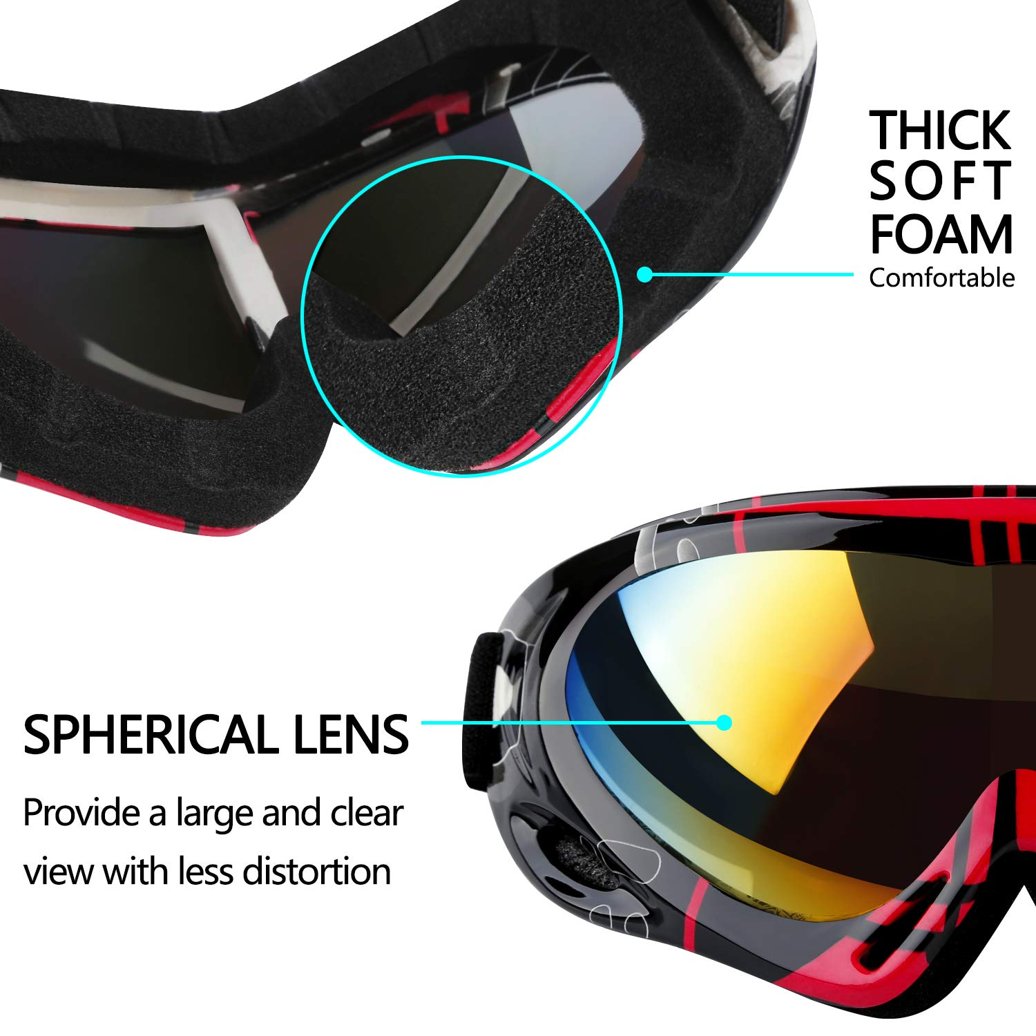 Upgraded Edition 2-Pack Snowboard Goggles for Kids Youth Helmet Compatible Snow Goggles with UV 400 Protection Wind Resistance Men /& Women Anti-Glare Lenses Elimoons Ski Goggles Boys /& Girls