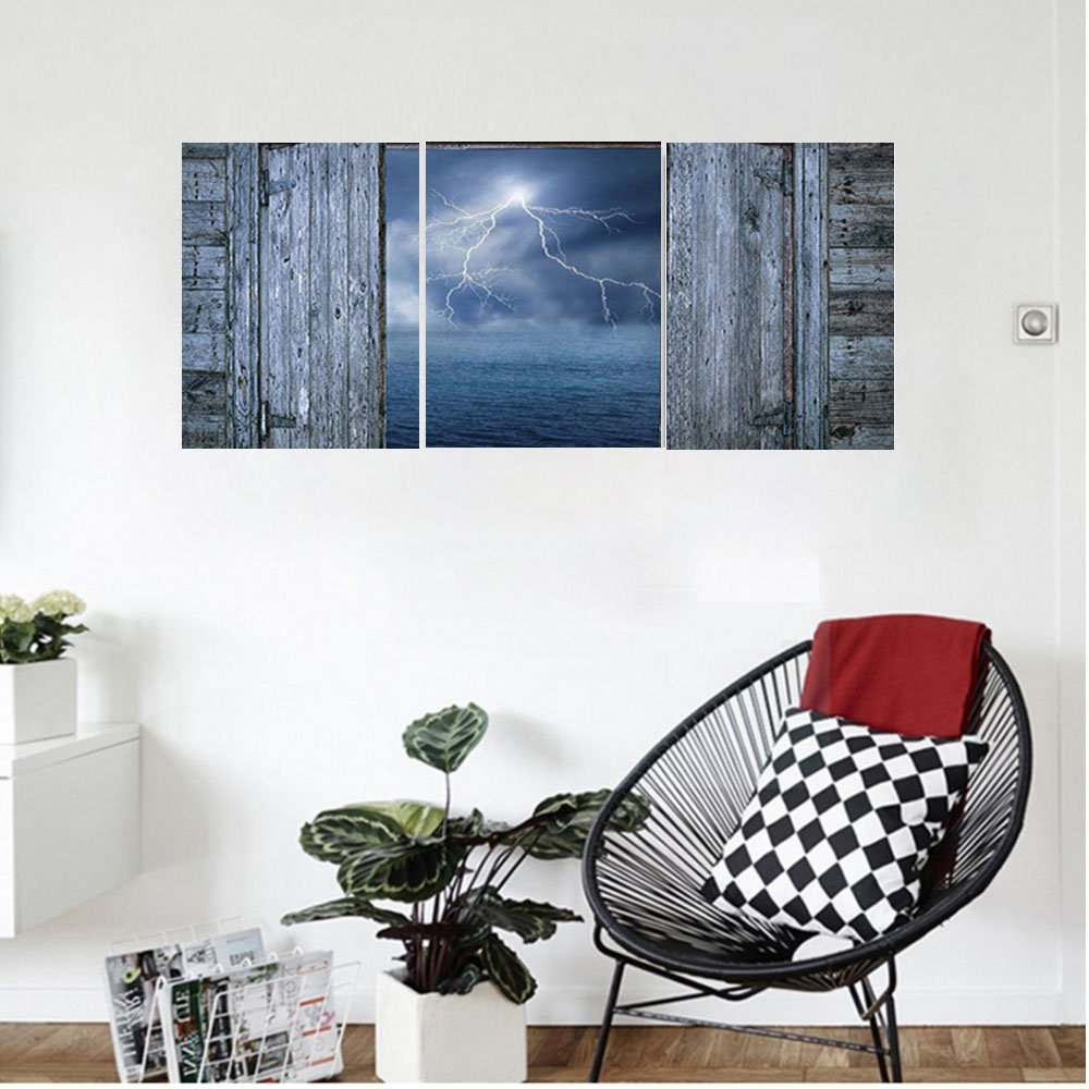 Liguo88 Custom canvas Lake House Decor Lightning Bolt At Night From Window In A Seaside House Forces Of Nature Theme Decor Bedroom Living Room Decor Blue Grey