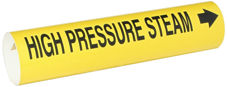 LegendHigh Pressure Steam Brady 4077-A Bradysnap-On Pipe Marker Black on Yellow Coiled Printed Plastic Sheet B-915