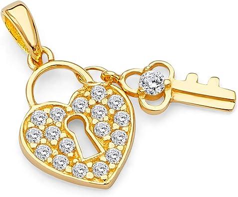 CZ Heart Charm Real 14K Gold Pendant