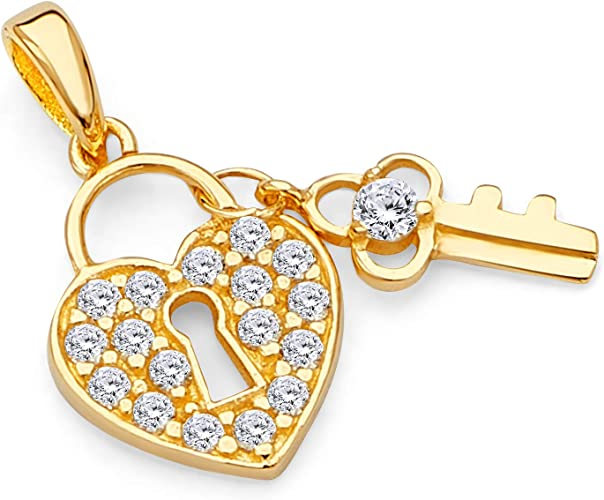 14K Real White Gold Light Key to My Heart Love Charm Pendant Cubic Zirconia