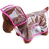 TOPSUNG Waterproof Puppy Raincoat Transparent Pet Rainwear Clothes for Small Dogs/Cats