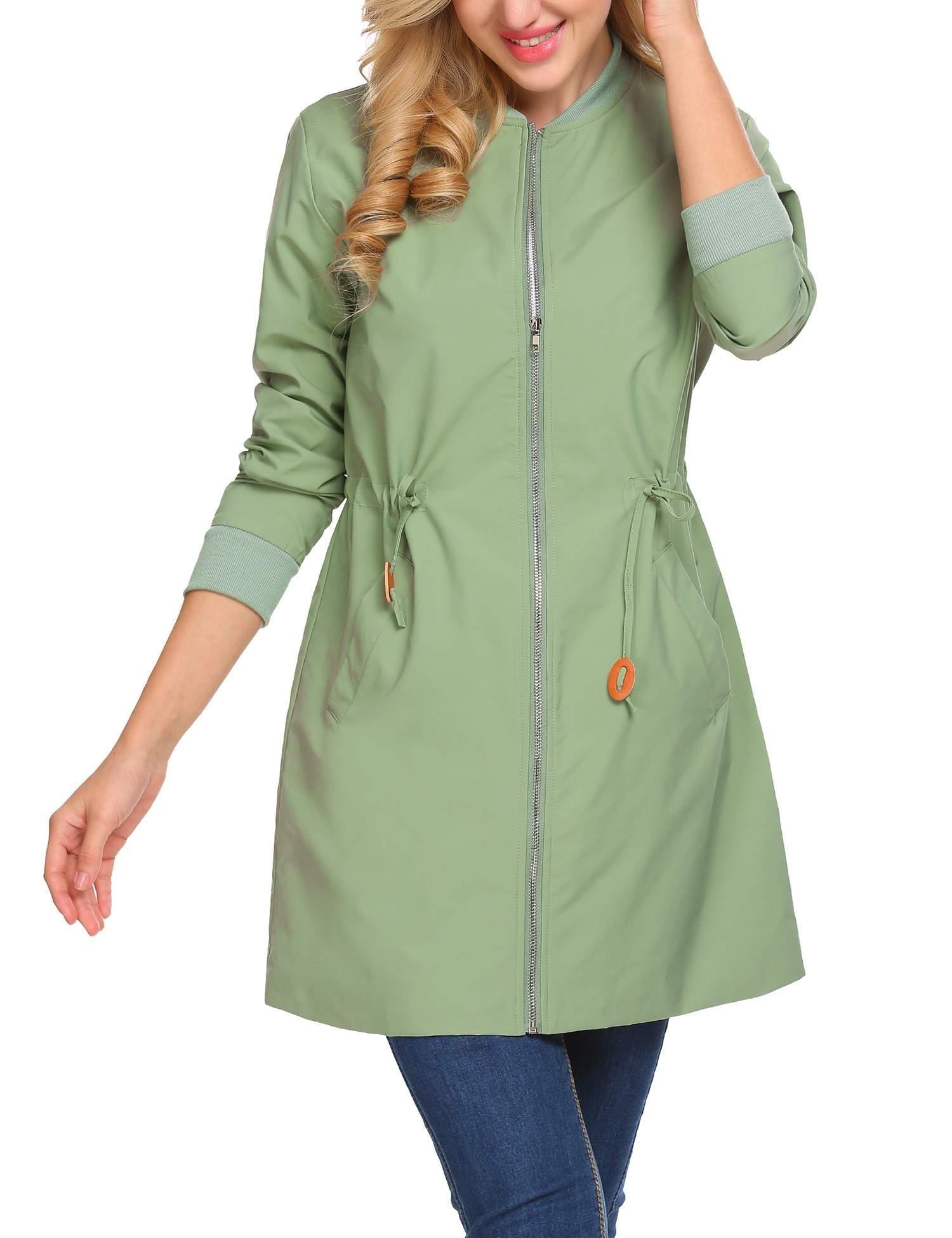 ELESOL Women's New Style Winter Spring Biker Bomber Jacket Slim Stand Collar Coat Green/S