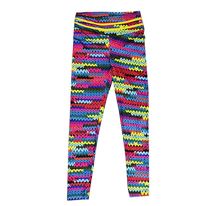 WM & MW Novelty Women Pants High Waist 3D Knitted Print Colorful Fitness Yoga Leggings Stretch Sports Pants Trousers